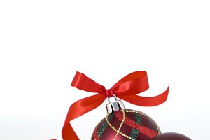 red bauble with red ribbon, Photo