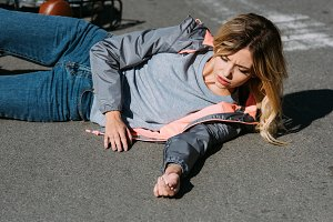 young woman mowed down by car on roa