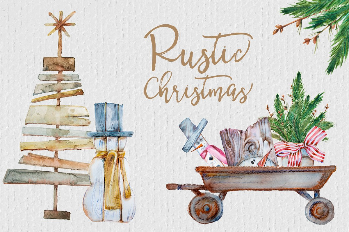 Christmas rustic. Watercolor clipart