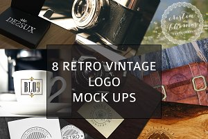 8 Retro Vintage Logo Mock ups vol1