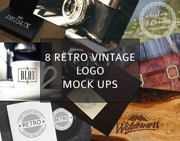 8 Retro Vintage Logo Mock ups vol1