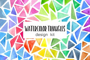 Watercolor Triangles Design Kit