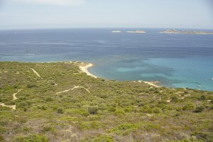 The coast of Sardinia seen from the