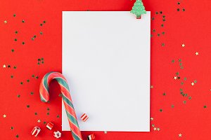 Christmas greeting postcard mockup w