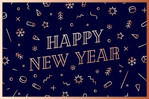 Happy New Year. Greeting card Happy