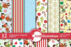 Christmas Digital Papers AMB-456