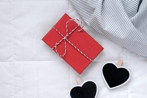 Romantic present in bed. Valentine c