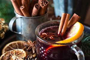 Mulled wine in Christmas setting