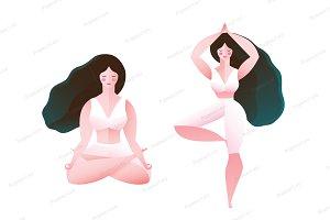 Woman Yoga Tree and Lotus Pose
