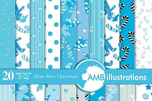 Blue Christmas Papers AMB-428