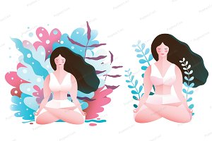 Woman Nature Sitting in Lotus Pose