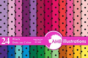 24 polkadot digital papers, AMB-409