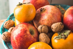 Autumn fresh fruit food in the