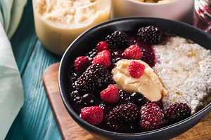 Vegan Chia pudding with berries and