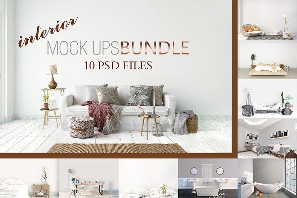 MOCK UPS BUNDLE, 10 INTERIOR PSD