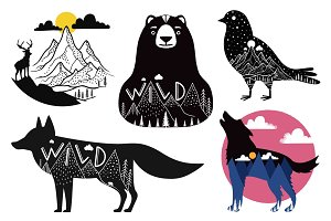 Landscape animals set