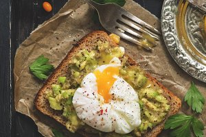 Fresh breakfast, toast with avocado
