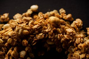 Overhead image of roasted granola on