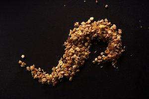 Overhead image of roasted granola on