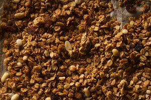 Top view of roasted granola