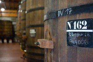 Detail of a wooden wine barrels