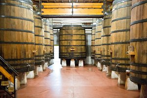 Pile of wooden wine barrels