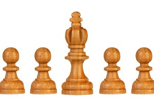 Wooden pawns team with it´s king