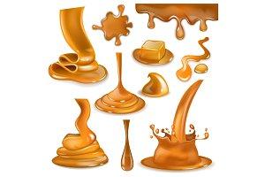 Caramel splash vector sweet flowing