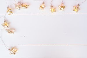 Christmas glowing garland on white