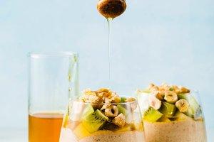 Vegan layered banana dessert of gree