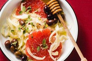 Fresh delicious salad of fennel, gra