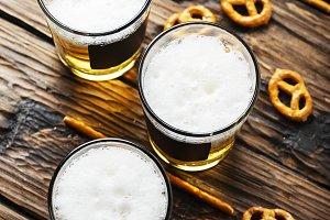 Glasses of blond beer