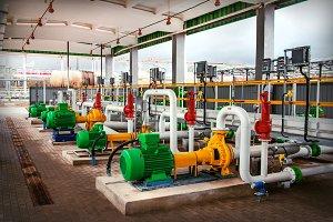 pumping equipment at a modern oil ta