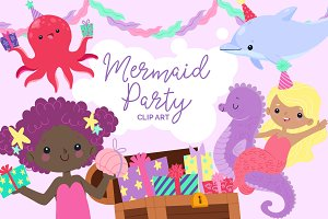 Mermaid Birthday Party Clip Art