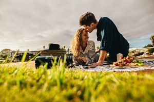 Couple on a romantic date outdoors