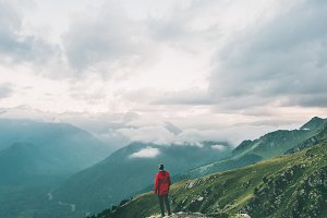 Man hiking alone in mountains