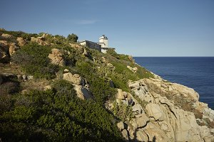 The lighthouse on the promontory in