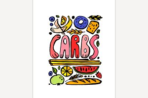 Carbohydrates Doodle Poster