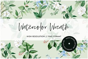 Watercolor Greenery Wreath