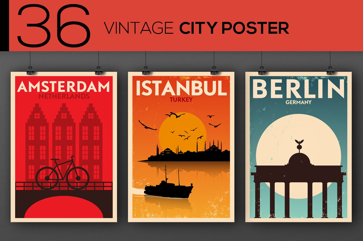 36 Vintage City Posters Illustrations Creative Market