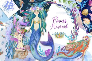 Princess Mermaid clipart set