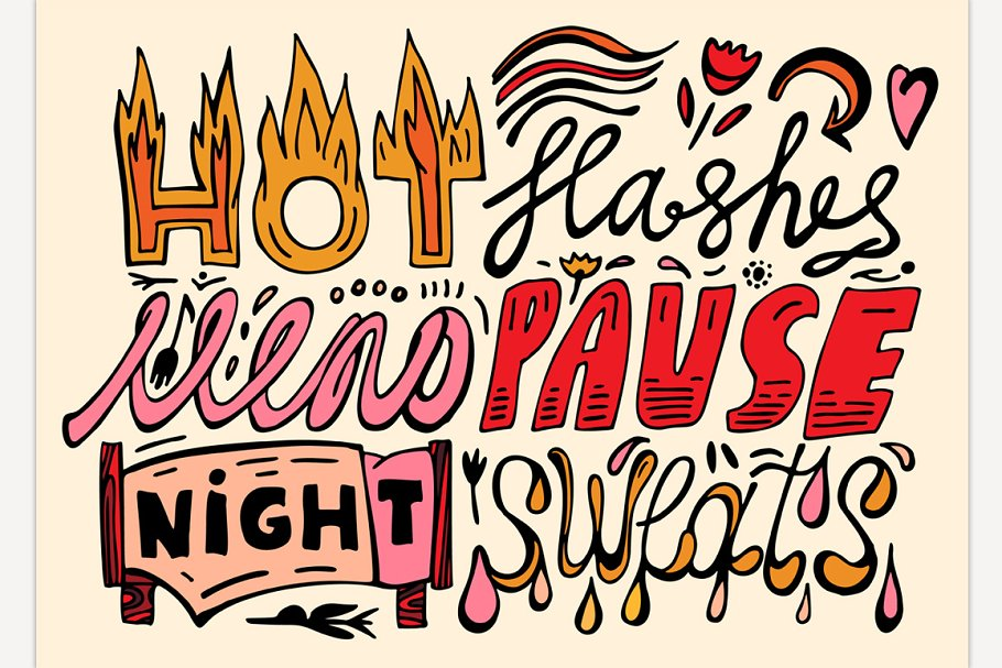 Menopause Hand Drawn Lettering