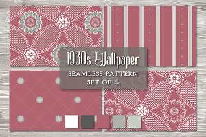 Vintage Seamless Pattern RED