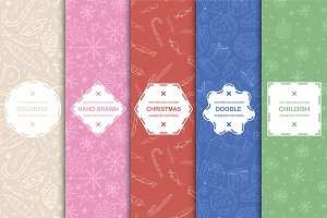 Doodle Christmas seamless patterns