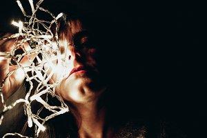 Fairy light on face