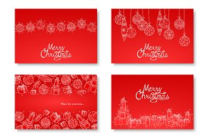 Christmas decorative handdrawn cards