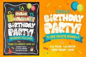 Chalk Birthday Party Flyer Bundle