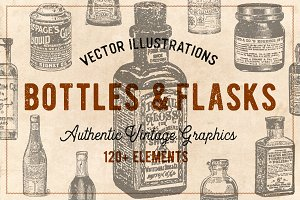 120 Vintage Bottles, Flasks & Vials