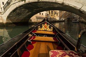 Gondola going under the bridge