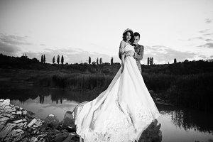 Beautiful wedding couple holding han